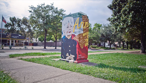 Electrical Box Mini Mural in Houston Texas by artist Tra' Slaughter