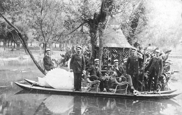 Members of the San Antonio Volunteer Fire Department on a swan boat in San Pedro Park, July 4, 1891. San Antonio Light Photograph Collection