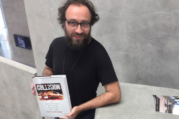 Pete Gershon with his Collision book about Contemporary art history in Houston Texas
