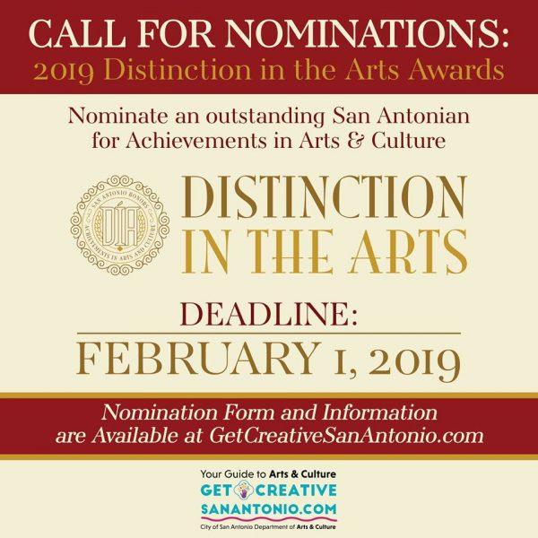 San Antonio Texas Nominations for 2019 Distinction in the Arts Awards