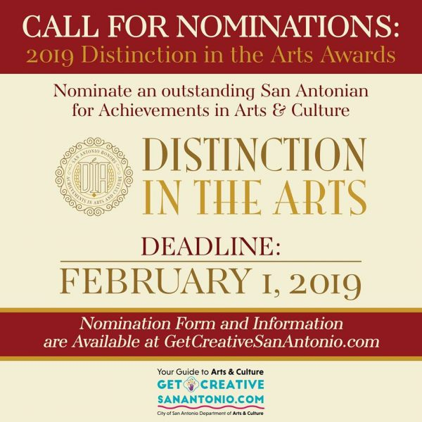 San Antonio Texas Nominations for 2019 Distinction in the Arts Awards