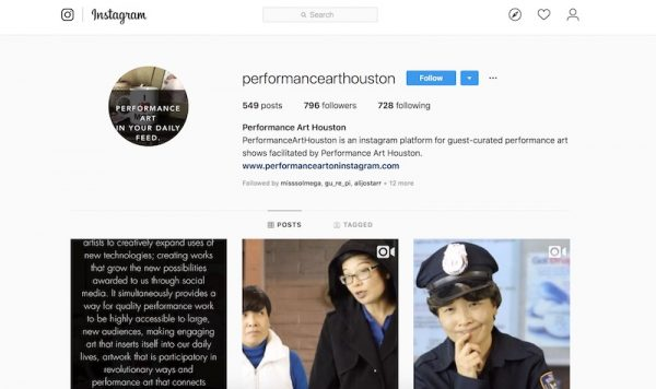 Performance Art Houston has a good Instagram account