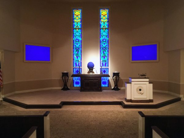 A scene from 'Eternal Now,' Nestor Topchy's installation at Geo. H Lewis Funeral Home, Houston
