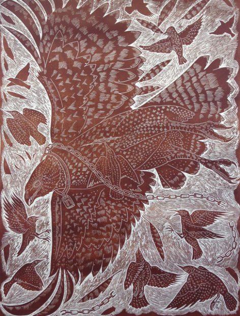 Artist Ricky Armendariz woodcut print