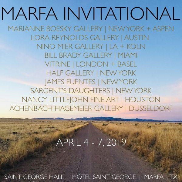 Marfa Invitational Art Fair exhibitor list 2019