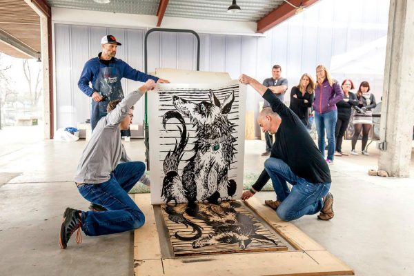 Steamroller print event for PrintAustin in Austin Texas