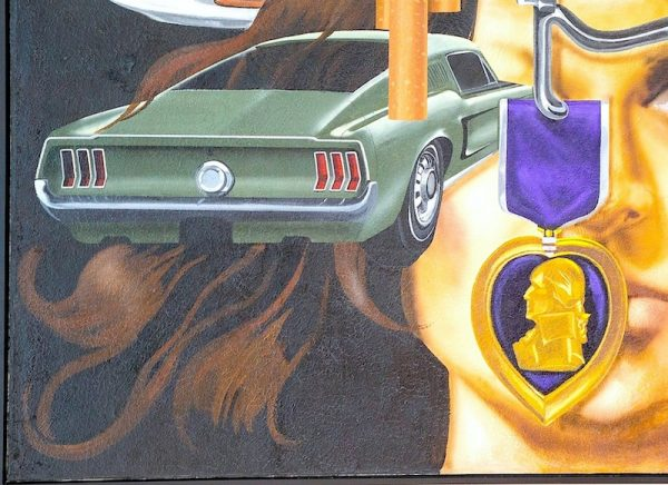 Jesse Treviño, Mi vida, detalle, 1971-72, acrílico sobre láminas de yeso, 243.8 x 426.7 cm, colección de Inez Cindy Gabriel. Imagen cortesía de la Ciudad de San Antonio.