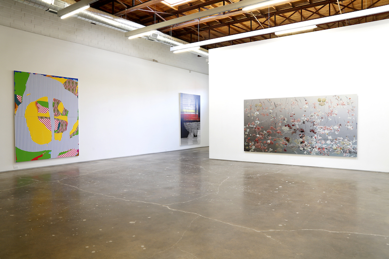 Installation view of Plugged-In Paintings at Site131, Dallas.