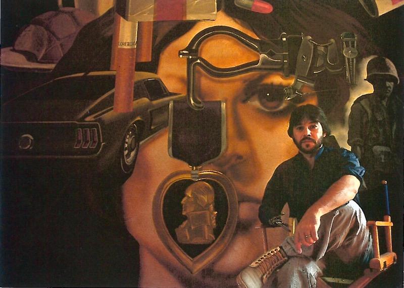 Treviño y su mural, Mi vida, en 1984. Foto por Oscar Williams.