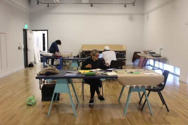 Artists Rabéa Ballin and Joshua Rios at work in The Studio, DiverseWorks