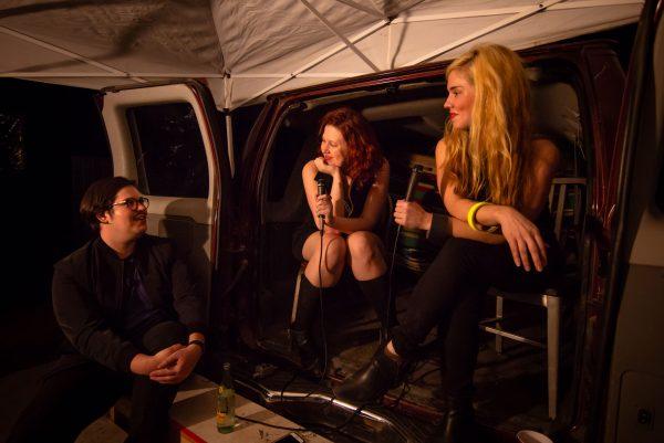 Brandon Zech, Julia Claire Wallace, and Quinn Dukes at the 2019 Satellite Art Show in Austin, Texas