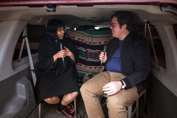 Fati Jafri and Brandon Zech at the Satellite art show in Austin Texas