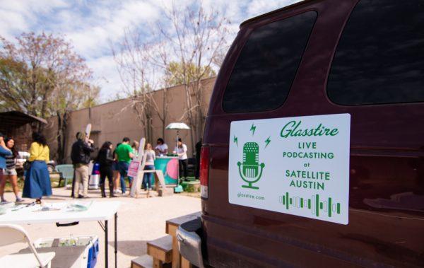 Glasstire's mom-van-podcast-station at the Satellite Art Show.