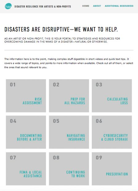 Houston Arts Alliance Disaster relief resources