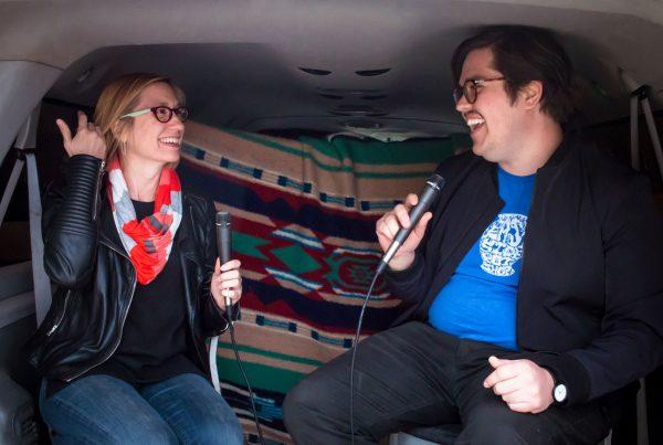 Jill-Schroeder-and-Brandon-zech-at-the-satellite-art-show-in-Austin-Texas