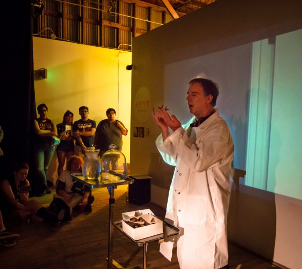 Jim Pirtle performing at the Satellite Art Show.