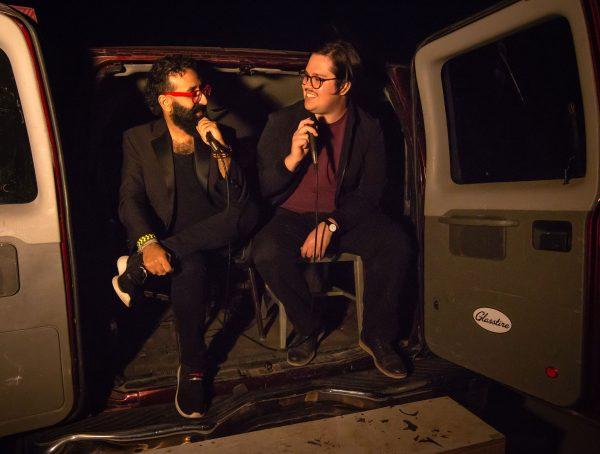 Michael Anthony García and Brandon Zech at the 2019 Satellite Art Show in Austin, Texas