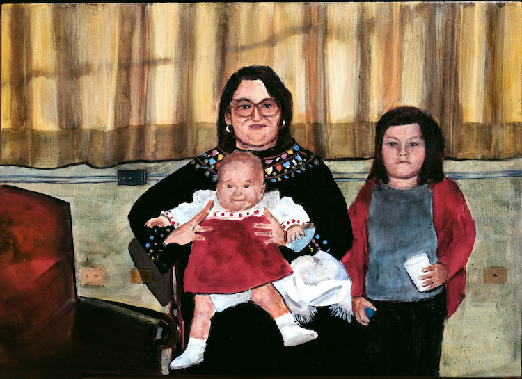 Ana Fernandez, Mom & Daughters, 2019, oil on panel, 10 x 14 inches