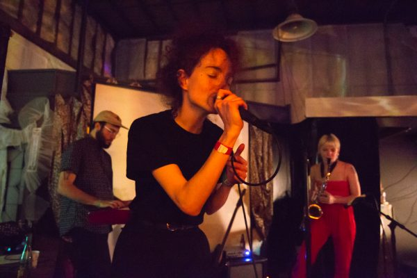Pecas performing at the Satellite Art Show.