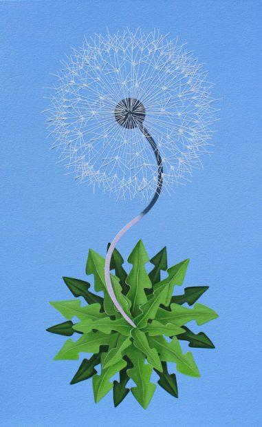 "Peter Harrington, New World Dandelion.Oil on canvas, 48 x 30"""