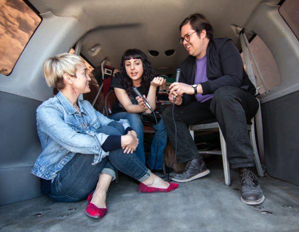 Rebecca Marino, Sarah Sudhoff, and Brandon Zech of Glasstire at the 2019 Satellite Art Show