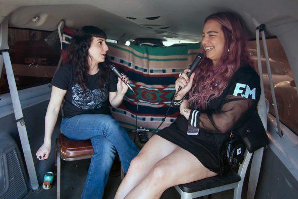 Rebecca Marino and Anna-Liisa Benston at the 2019 Satellite art show in Austin Texas