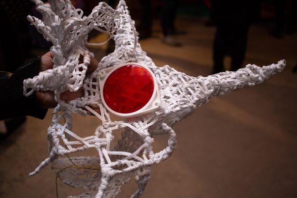 Sick Din's handmade performance head piece at the Satellite Art Show