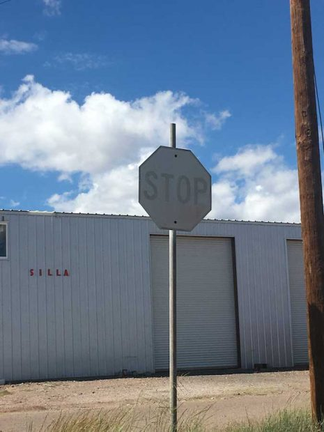 A stop sign in Marfa. Photo by Brandon Zech/Glasstire