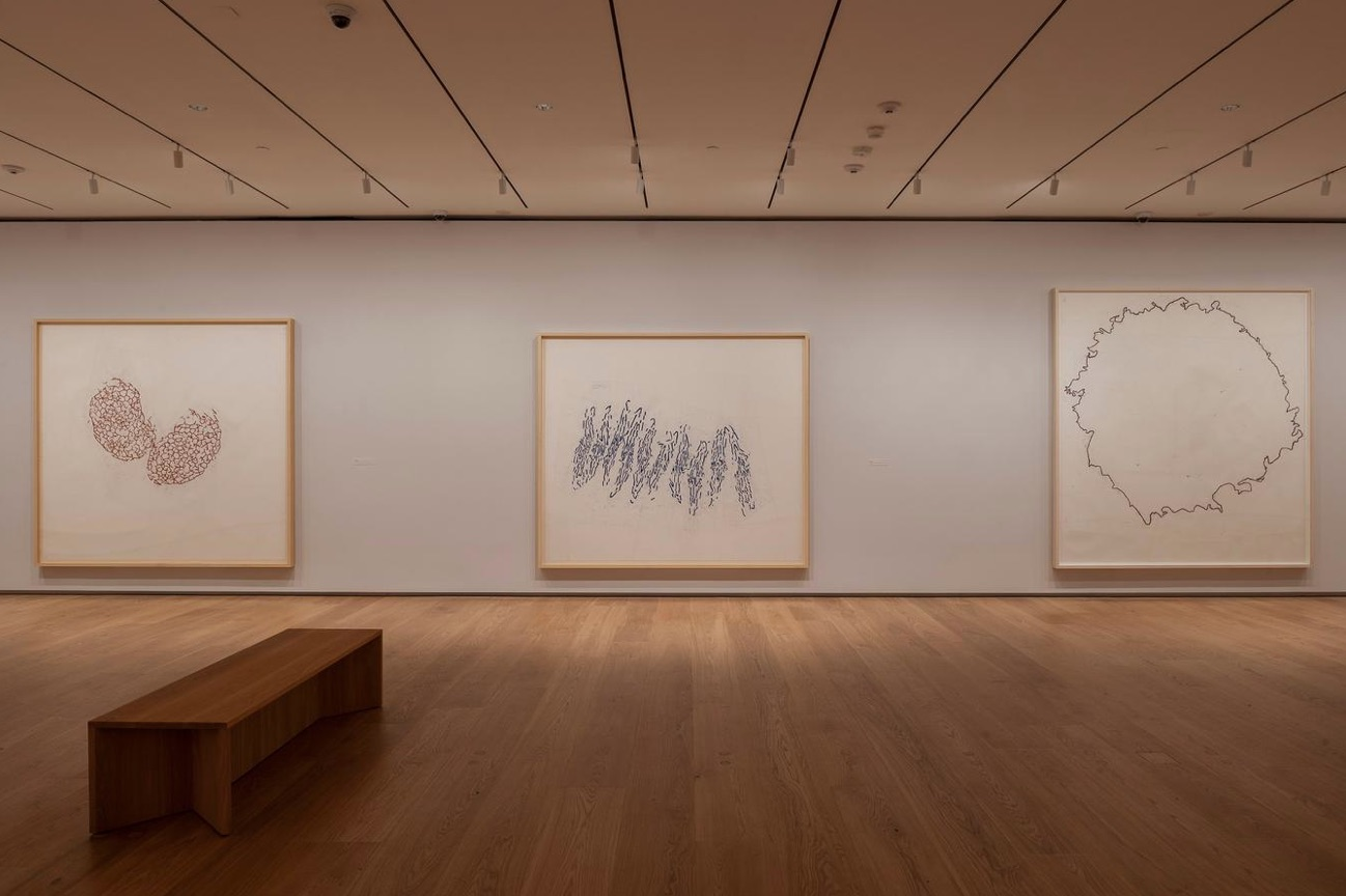 Installation view of Roni Horn's When I Breathe I Draw at the Menil Drawing Institute