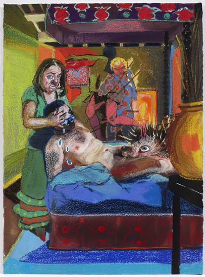 """Natalie Frank, Hans My Hedgehog III (2011-14), gouache and chalk pastel on Arches paper, 22 x 30""""."""