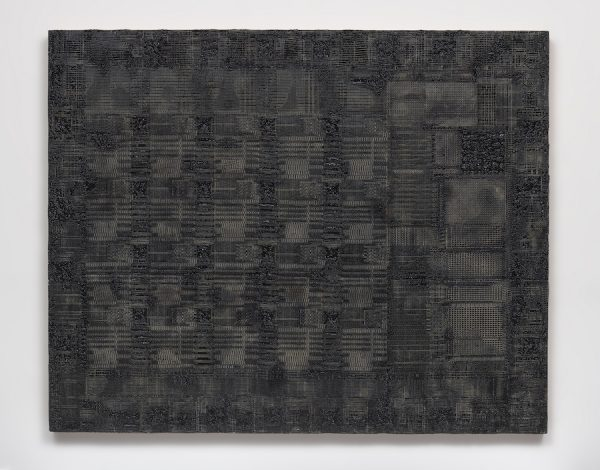 Analia Saban Pleated Ink (Optical Mouse, Computer Chip for Motion Detection, Xerox, 1980), 2018 Ink and laser carved paper on wood panel Overall: 50 × 62 1/2 × 2 1/8 in.