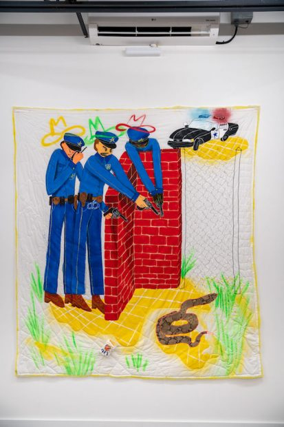 """Alexis Mabry, The Cops, found fabric, acrylic, spray paint, oil pastel, thread, chicken wire, quilt batting, 86 x 78"""""""