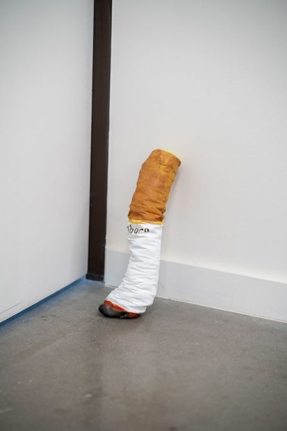 "Alexis Mabry, Cigarette, found fabric, chicken wire, batting, acrylic, 15 x 4"""