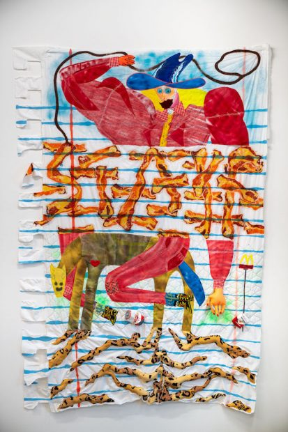 Alexis Mabry and Steef Crombach, Exquisite Cowboy, muslin, found fabric, spray paint, acrylic, thread, chicken wire, puff paint, beeswax, dye, Great Stuff, lacquer.