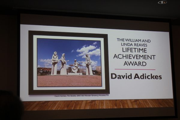 Ninety-two year-old David Adickes received the 2019 William and Linda Reaves Lifetime Achievement Award.