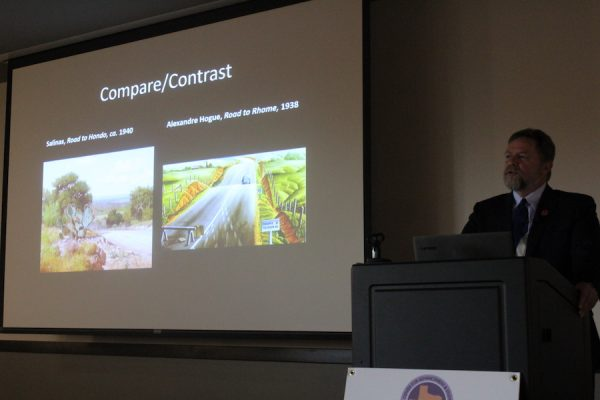 Michael R. Grauer compares Road to Hondo by Porfirio Salinas to Road to Rhome by Alexandre Hogue.