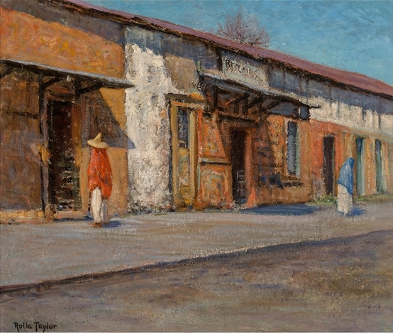 Rolla Taylor painted this view of the Spanish Governors Palace in San Antonio when it was still just another sun-baked cantina on Military Plaza.