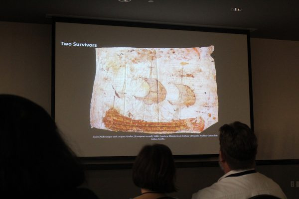 Two French survivors from La Salle's doomed landing at Matagorda Bay in the 1680s created this image of a European vessel on parchment. They wrote a note on the parchment, stating that they were Christians and hoped to rejoin civilization, passing the parchment on to Native Americans who then passed it to Spaniards.