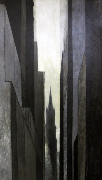 "Trinity Church Near Wall Street, 1959 Oil On canvas, 58x32"" Collection of BB Moncrief"