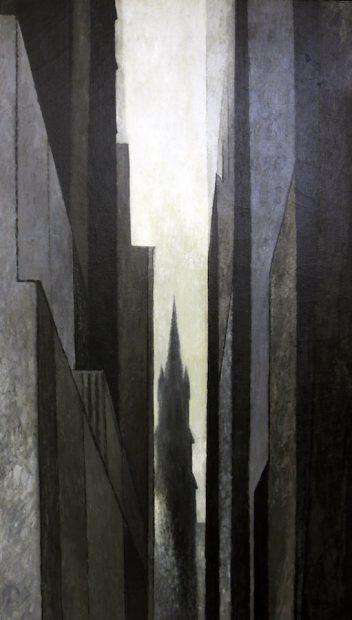 "Trinity Church Near Wall Street, 1959 Oil On canvas, 58x32"" Collection of BB Moncrief"