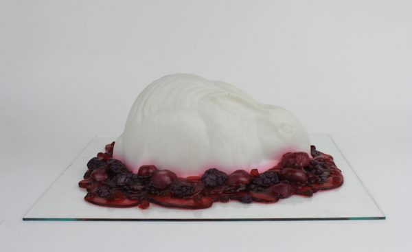 Erin Stafford, Haute Cuisine from Bygone Eras (Berry), 2015. Soap and glass panel.