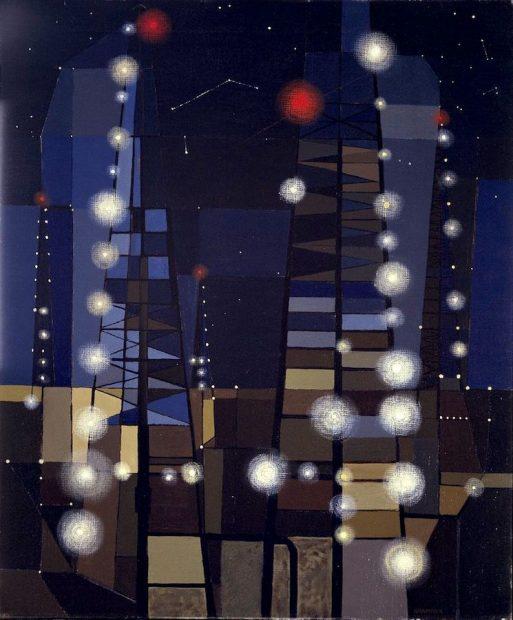 George Grammer, Oil Derricks at Night, 1952.
