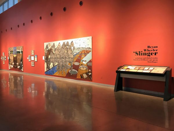 Installation view of Bryan Wheeler's solo exhibition Slinger, at Louise Hopkins Underwood Center for the Arts.