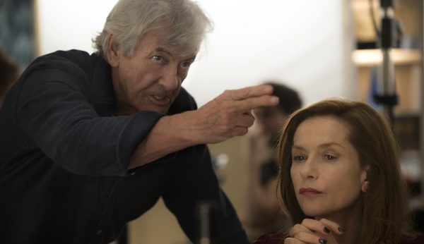 Paul Verhoeven and Isabelle Huppert on the set of Elle