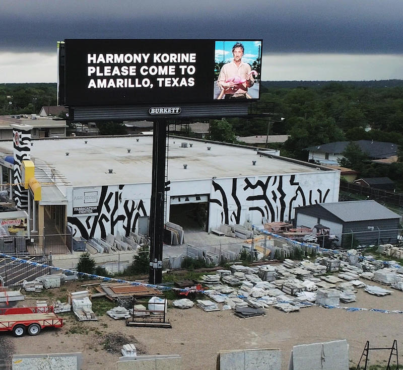 One of the two Amarillo billboards with Pedigo's message to Korine.
