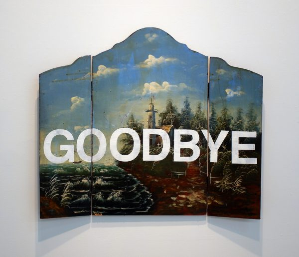 Erin Stafford, Is Goodbye One Word or Two?, 2016. Fireplace screen, acrylic paint 40 x 32 inches