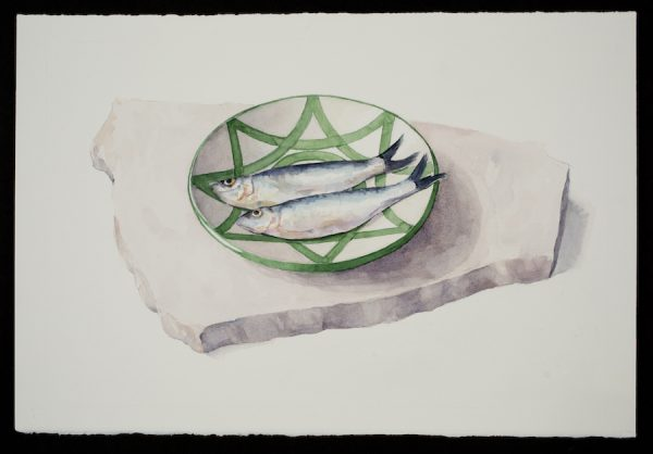 Carol Ivey, Sardines on Spanish Plate, 2019.