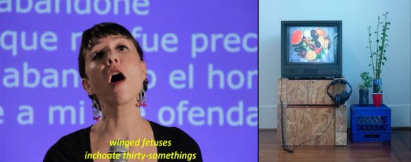 (l) Julia Barbosa Landois, Star-Crossed II. (video still), 6:30 minutes, 2013. (r) Francis Almendarez , Nuestro Hogar (installation view), multimedia with produce plants, dimensions variable, 2019
