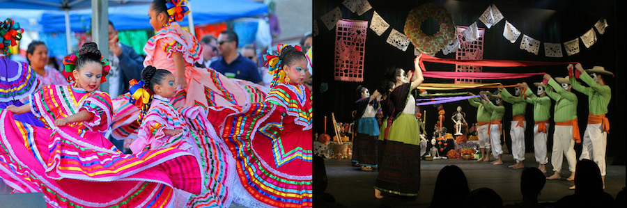 (l) Ballet Folklorico at MECA, (r) Dia De Los Muertos performance at TBH