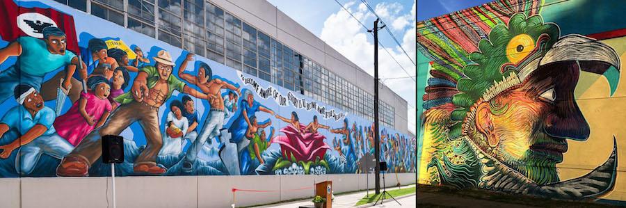 (l) Leo Tanguma, Rebirth of Our Nationality, 240ft, 5900 Canal street, 1973 and 2018 (with Gonzo247), (r) Angel Quesada, El indio de la guardia, corner of Leland and St. Emmanuel, 30' x 30', 2016